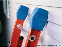 Simple rail cap covers protect siding and finished surfaces from ladder damage. (photo ©Werner Ladder Co.)