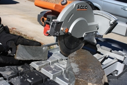 "The Ridgid R4090 tile saw slices through natural stone up to 3"" thick."
