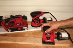 """Skil has a full line of sanders featuring """"pressure control"""" indicators that illuminate when the right amount of pressure is applied for best sanding results."""