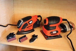 For the hobbyist and DIY'er, Black & Decker offers an economical and compact ¼-sheet and Mouse detail sander, both equipped with dust-control cartridges.