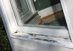 This bay window sill had rotted to the point that it could not support the weight of the window glass.