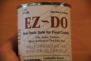 The EZ-Do product used for this countertop is a polyurethane gel that achieves an easy-to-maintain finish and is non-toxic to food contact.
