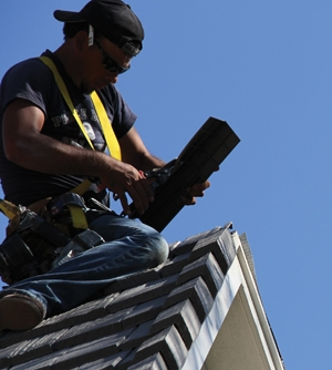 Rake tiles are installed to finish the gable ends. Rake tiles can be installed with two screws into the gable wall or fascia.