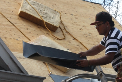 Self-adhered membrane is applied to all roof edges, gable ends against walls, in the valleys and around projections.