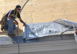 The roof deck is covered with Titanium UDL-25 Pluse Synthetic Roofing Underlayment.