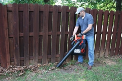 Remove accumulated organic matter from outdoor wood where the debris can contribute to moisture problems and rot. Shown is the Black & Decker LSWV36 Mulching Blower/Vac.