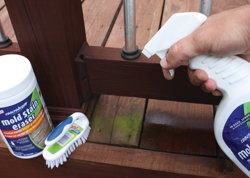 Spot cleaners such as Concrobium Mold Control can be used on targeted applications like the mildew forming on this deck.