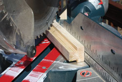 Cut the corners for the shelf at 45-deg. miters.