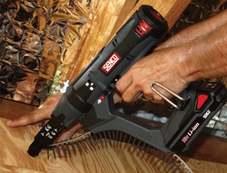 """Senco's 18V DuraSpin auto-feed screwdriver uses 2"""" Collated Screws for high-production fastening of drywall, sheathing, paneling and more."""