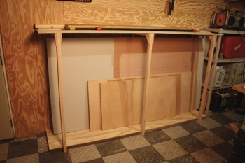 The rack stores virtually any sheet measuring 4x8' and smaller, including drywall, plywood, plastic laminate, MDF, HDF, or OSB.