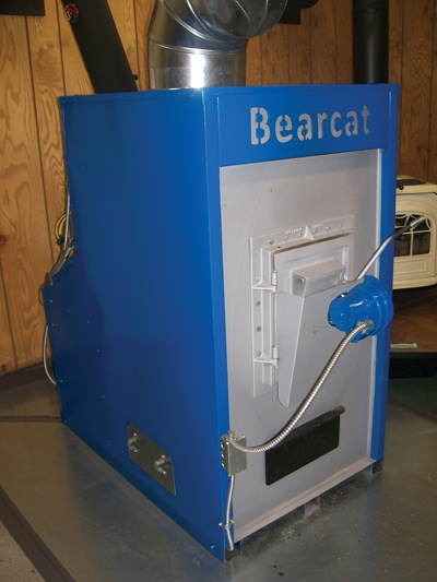 Shown is the Bearcat wood-burning furnace from Charmaster.