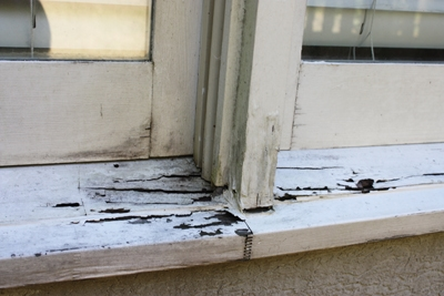 Not all rot is as evident as this badly damaged window. Use a pick or awl to prod the wood casing and trim of doors and windows. Look for peeling paint and soft, spongy wood.