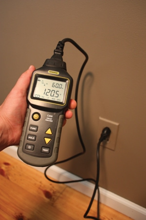 A three-pronged circuit analyzer can check the voltage of outlets throughout the home. The CBl20-AC Circuit Analyzer from General Tools is ideal for identifying 110/220V AC power circuit and wiring problems that can cause shocks, sparks, fires, equipment failures and poor equipment performance.