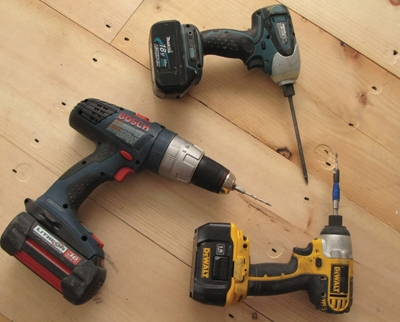 An impact driver does the pre-drill/countersink. A cordless drill-driver drills the rest of the pilot hole. Another impact drive sends the trim-drive screws home.