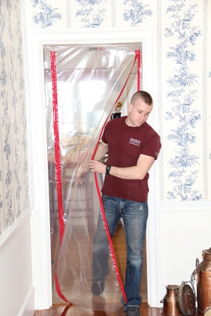 Sealing the doorways of the construction site with a plastic will inhibit dust from circulating throughout the rest of the home.