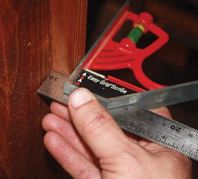 A combination square helped to keep a consistent reveal on the side trim pieces.