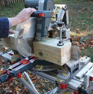 "A Bosch 12"" gliding miter saw made it easy to cut the 6x6 bed posts."