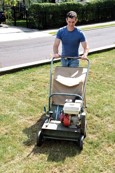 I power-rake the lawn in two directions: east-west and north-south, or at opposing diagonals, to make sure the machine can get at as many broadleaf weeds as possible.