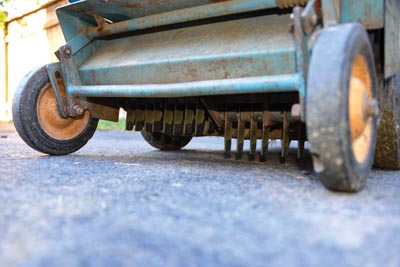 The power rake's tines are the keys to its weed-beating power. When these get whirring they rip and bash the weed leaves but leave the lawn in tact.