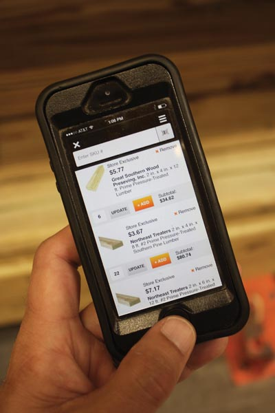 Interface with your local Home Depot store remotely to check inventory and place orders.