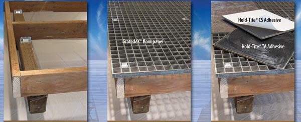 The GratedeX system can convert traditional deck joist framing into a tiled walking surface.
