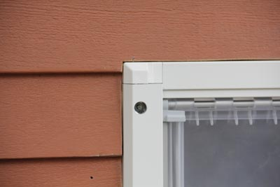 Shown here is the recessed outer door frame. Be sure to seal all edges of the door with a high-quality caulk.