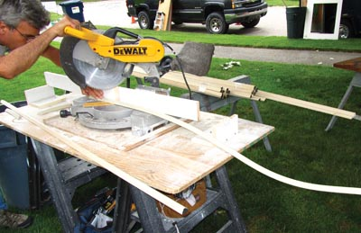 The flexible molding cuts easily on a miter saw.