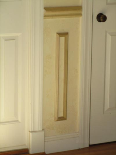 This photo shows how we maintained our spacing pattern between two doors that were located closely together.