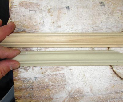 The flexible molding matches the standard wood molding exactly but costs three times the price. For this reason, we used wood molding on the vertical pieces that didn't need to bend.