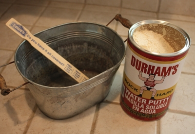 Durham's Water Putty requires only water to be mixed with the powder to form the repair product.