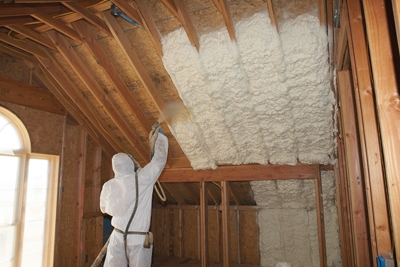 Spray foam insulation is a popular method of modern installation. Some Manufacturers such as Tiger Foam offer kits for small jobs, but whole-house projects generally require specialized training and equipment. (Photo Courtesy Tiger Foam)