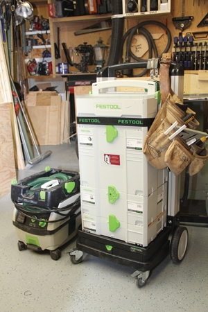 The Festool Systainer system interlocks for easy transport with the SysRoll cart, which weighs only 14.3 lbs. but boasts a 220-lb. capacity .