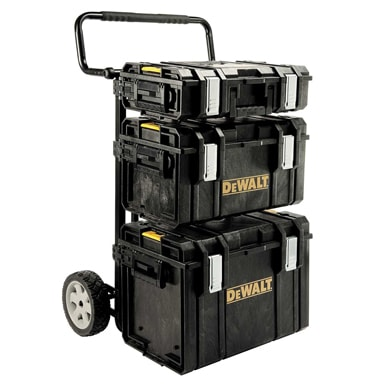 The DeWalt ToughSystem of extremely durable tool boxes can be transported with the DS Carrier, a metal cart with adjustable, foldable brackets that allows tailored configuration.