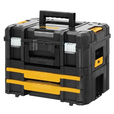 DeWalt's TSTAK system is a flexible storage platform that allows different combinations. All units can stack on top of the other and connect with durable slide latches.