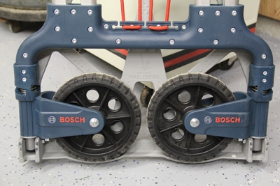 The Bosch L-Cart collapses and folds flat for easy storage when not in use.