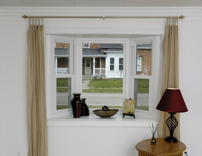 Bay windows are created by mulling together three windows at either 35 or 45 degree angles.