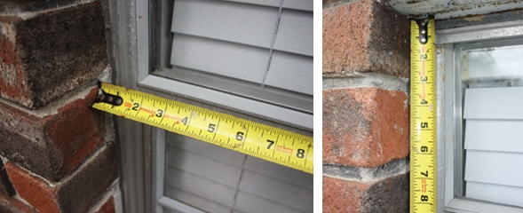 For metal windows in brick walls, measure the width from brick to brick. Measure the height of metal windows from the brick at the bottom to the lintel at the top. Measure the height of metal windows from the brick at the bottom to the lintel at the top.