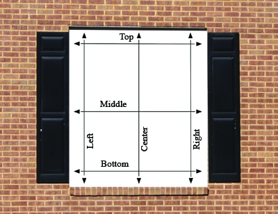 As shown in the diagram, take three measurements for the window's height and three measurements for the window's width. Use the smallest measurement for each dimension.