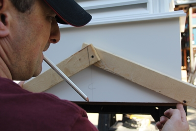 Mark the centerline on the cupola and align the angle finder.