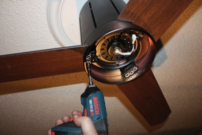 The fan blades are attached one at a time.