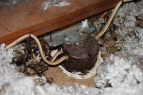 Installing a ceiling fan extreme how to inside the attic i found the old outlet box buried beneath loose insulation attached to the aloadofball Choice Image
