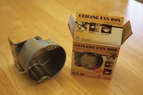 Installing a ceiling fan extreme how to the new metal ceiling fan box came with a right angle bracket for mounting from aloadofball Choice Image