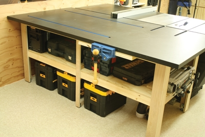 This photo shows the assembly table being used as an outfeed bench for a table saw, while providing ample tool storage.