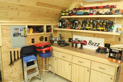 When incorporating a bench into your garage of workshop, don't forget to provide power for lighting and electrical outlets.