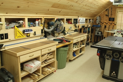 Adding Storage options to your bench or its surroundings will help organize the workspace.
