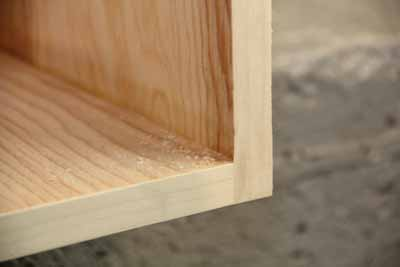 The resulting edge-banded panel looks like solid wood. This technique can be used on all sorts of furniture and cabinetry pieces.