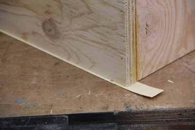 An oversized tape will completely conceal the plywood edge.