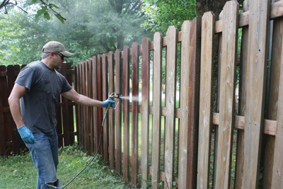 Spraying the fence was easy, but back-brushing the stain was even easier (no back-brushing required!).