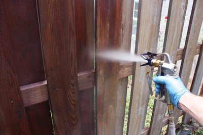 "To minimize runs and overspray, keep the sprayer nozzle 10"" to 12"" away from the surface when applying the stain."