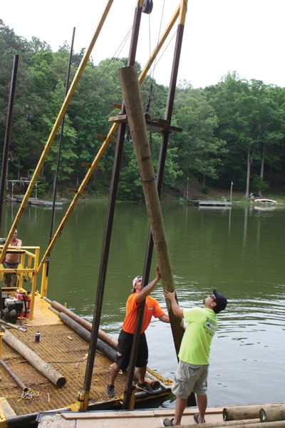 Building a boathouse extreme how to for Dock pilings cost